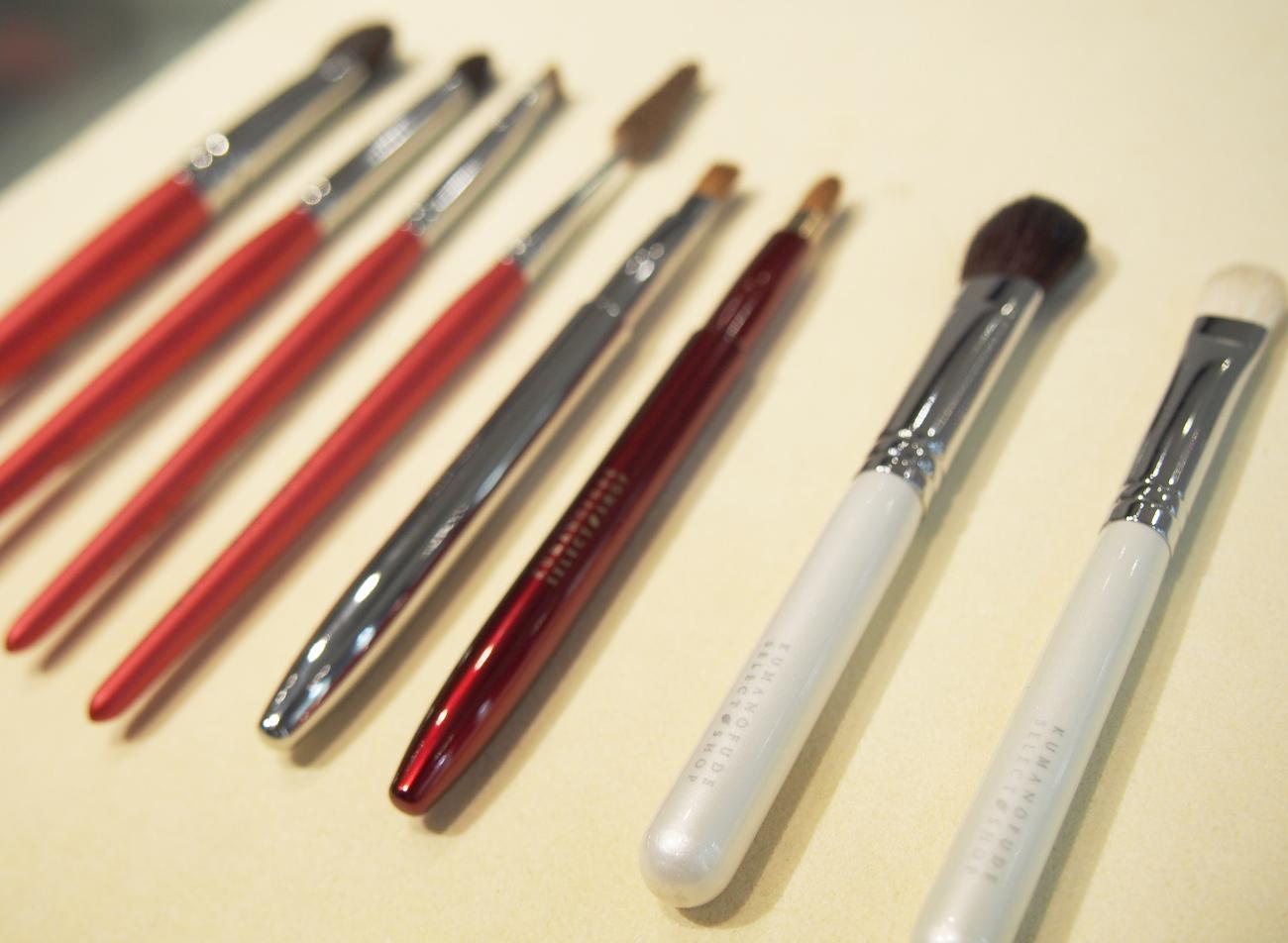 いろいろな種類の熊野筆