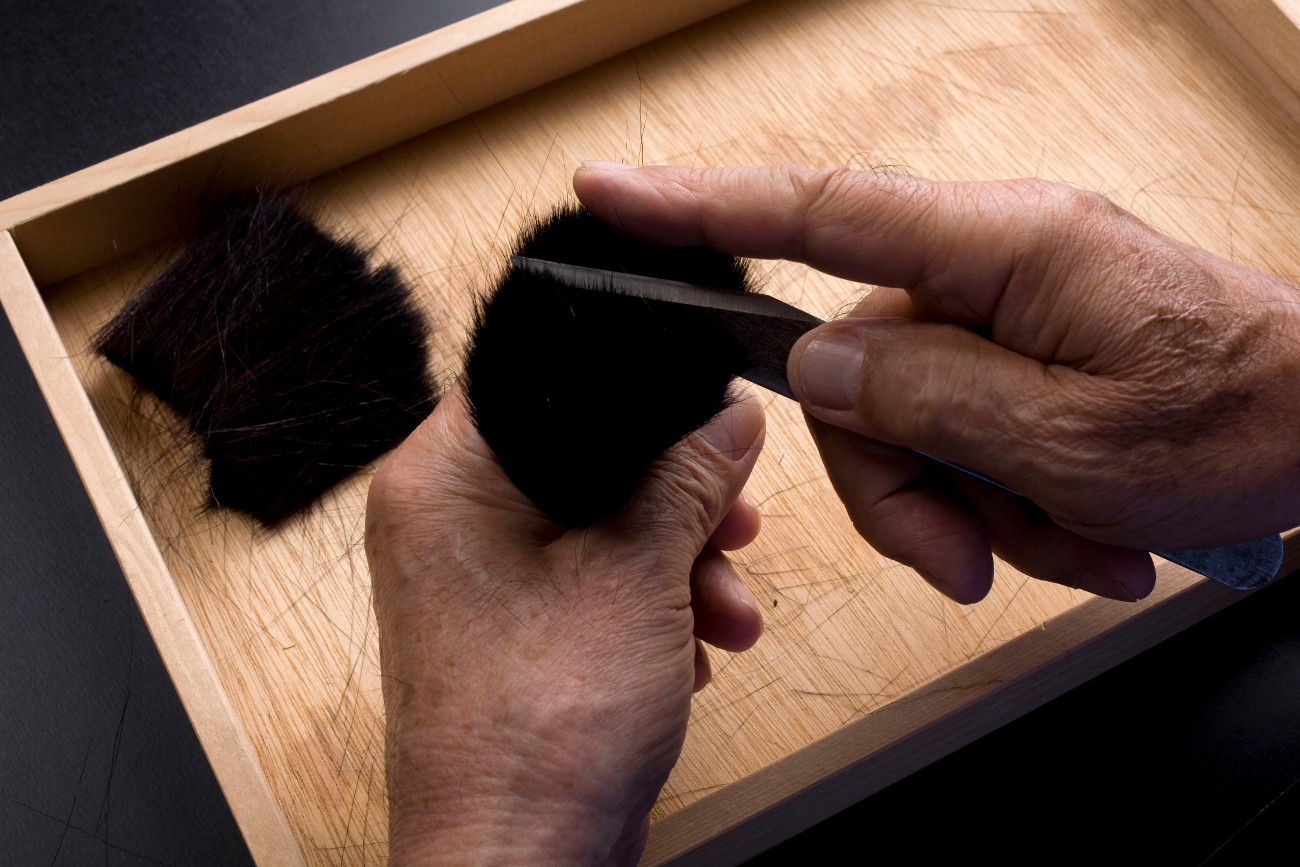 職人さんの逆毛の工程